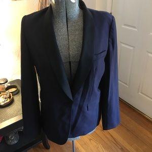 J.Crew dark blue wool black contrast lapels blazer